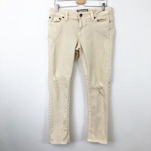 BKE Cream Distressed Skinny Denim Pants, 33